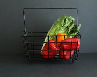 Vintage Heavy Wire Rectangle Basket With Removable Handle Black Rubber Coated Gardening Vegetable