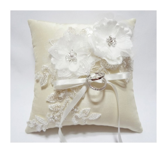 Wedding ring pillow - Ring bearer pillow, ivory ring pillow, off white satin organza blossom on ivory silk dupioni pillow