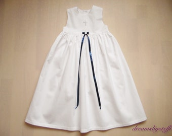 Christening Gown crystal Cross / satin, sleeveless, 100% cotton,various satin colors/sizes