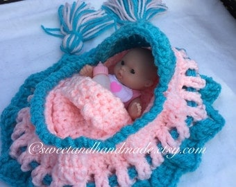 crochet cradle purse with doll blanket pillow and baby bottle church purse girls purse with doll