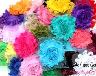 Shabby Flowers Grab Bag - Solid 2.5'' Shabby Chiffon Flower - Frayed Shabby Flowers