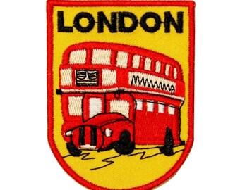 """Double-Decker Red """"London"""" Bus Souvenir Patch UK Tourism Travel Iron-On Applique"""