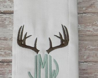 Deer Antlers Monogrammed Burp Cloth Rag in Brown & Mint