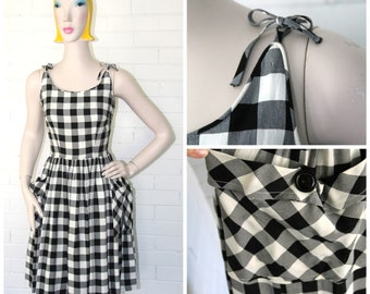 Vintage 1950s Gingham Sundress XXS