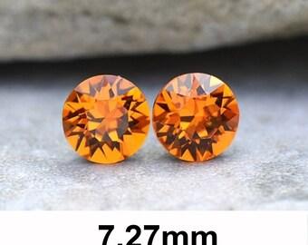7.27mm Studs, Tangerine Earrings, Swarovski Xirius, Rhinestone Stud Earrings, Swarovski Tangerine, Stud Earrings, Orange Crystal Earrings