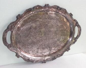 Vintage Tarnished Ornate Silver Plate Serving Tray