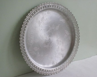 Vintage Round Aluminum Serving Tray with Flowers