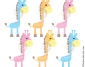 Cute Giraffe Clipart Baby Giraffe Animals Digital Clip Art Baby Giraffe Nursery Scrapbook Teacher Supply Craft Instant Download 10423