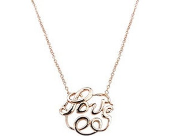 Kissingravens Love Necklace, Monogram Style Love Necklace, Necklace, Rose Gold Necklace, Rose, Gold, Jewelry, Trending Jewelry, Gifts,