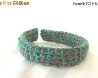 FALL SALE, Teal Crochet Headband - Fabric Hair Accessory - Sweater Headband - Hair Accent Fabric