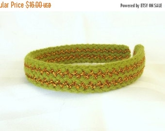 FALL SALE, Green Knit Headband - Vintage Style Hair Accessory - Retro Style Headband - Hair Accessory for Her