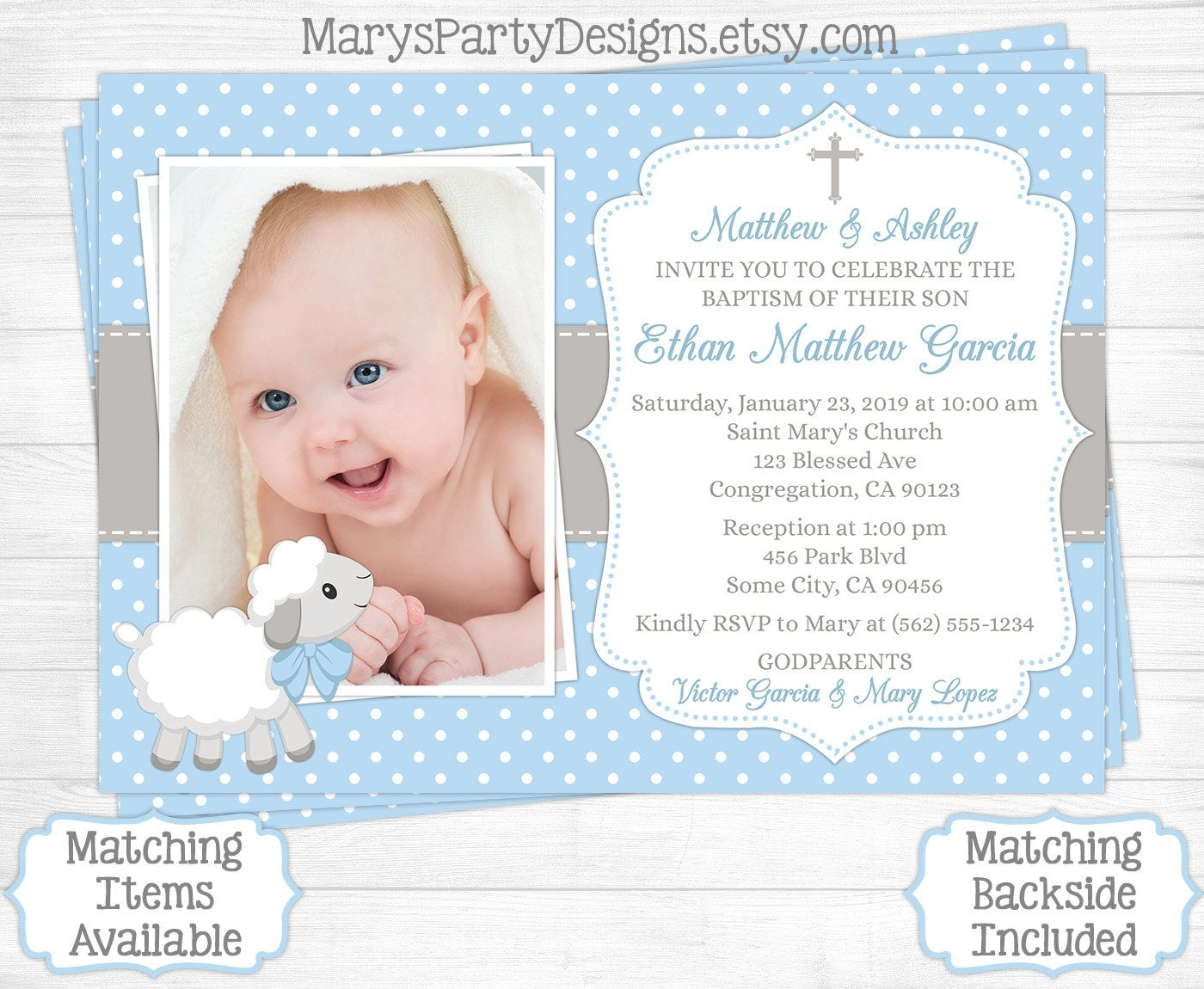 Lamb Baptism Invitation Boy First 1st Birthday Christening