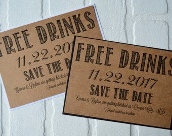 FREE DRINKS Save the Date Cards funny kraft rustic save-the-date cards kraft funny save the date invitations fun save the dates cards