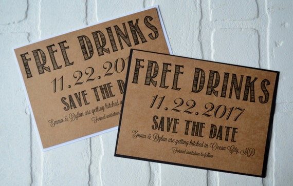 This And That Creations Save The Date FREE DRINKS - Funny save the date templates