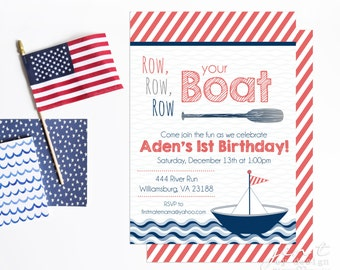Row Your Boat Invitations - First Birthday Invitations
