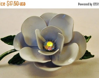 ON SALE Vintage Enamel AB Rhinestone White Rose Flower Brooch - Enchanting