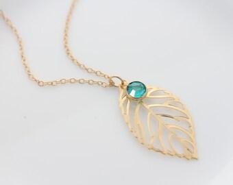 Gold leaf necklace with birthstone, custom birthstone necklace. Leave Necklace. Gold leave. Gold jewelry