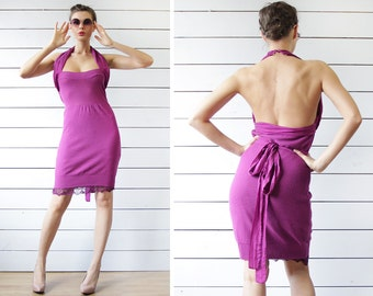 Vintage bright pink wool silk fitted bodycon open back halter neck knee length midi dress