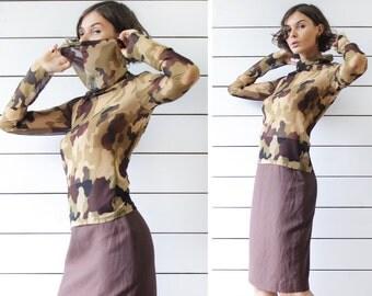 PATRIZIA PEPE vintage sheer mesh khaki camo print print long sleeve cowl neck blouse top
