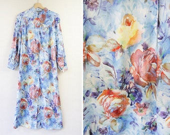 Vintage 60s blue rose floral print button up day dress robe