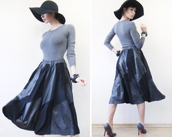 80s Vintage black suede leather patchwork flared tea length high waist midi skirt M