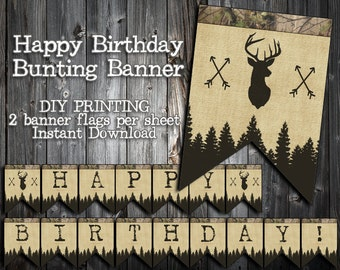 INSTANT DOWNLOAD - the Little Hunter Collection - Bunting Style Happy Birthday Banner - Camo, Deer, Buck, Arrows, Burlap