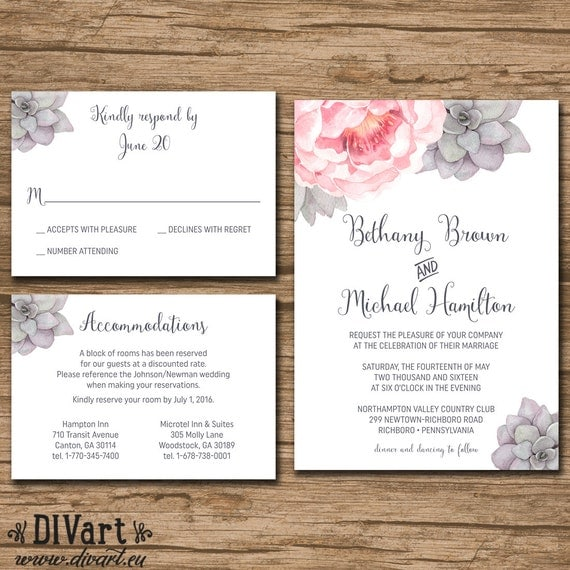 Succulent wedding invitation suite response card by art on etsy