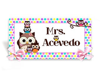 personalized teacher desk name plate stacked owls classroom decor - polka dots table sign sign - D5