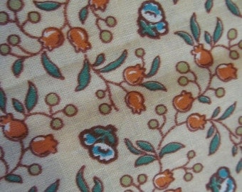 """Floral fabric remnant, tan with orange flowers and green leaves, 35"""" x  60"""""""