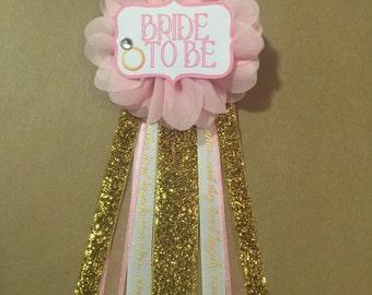 Bride To Be Flower Ribbon Pin Gold Pink glam Corsage Glitter Rhinestone Bride ring bling wedding bridal shower pin