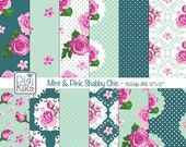 70% SALE Pink and Mint Shabby Chic Digital Papers, Shabby Chic Scrapbook Papers - design, invitations, paper craft - INSTANT DOWNLOAD