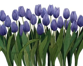 Purple Tulips Reproduction of an Original Watercolor by Wanda Zuchowski-Schick