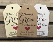 Wedding Gift Tags - All Things Grow With Love- Wedding Favor Tags - Customizable Personalized (WT1675)