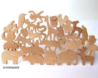 Special offer - Set of 35 wooden animals - Wooden toy set