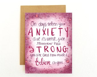 Anxiety Card - Mental Illness Card - Encouragement Card - Remember How Strong You Are