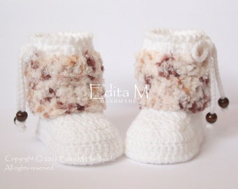 Crochet baby booties, baby shoes, girl, boy, white, brown, tan, cream, wooden beads, winter boots,READY TO SHIP,photo prop, 3-6 months, gift