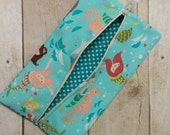 Mermaid & Sea Creatures Diaper Wipes Case, Zipper Wipes Case, Soft Wipes Case, Diaper Bag Accessory, Wipes Holder, Make-up Bag Ready to Ship