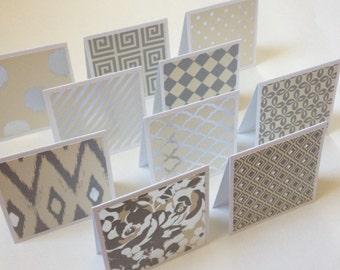 Set of 10 // 3x3 Mini Silver Foil Note Cards // Mini Note Cards // Mini Envelopes // Foil Note Cards // Mini Note Card Set // Mini Cards