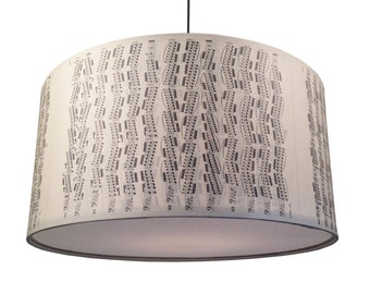 Musical Stripes - hanging pendant light shade. Upcycled, vintage charm.