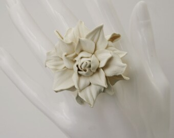 Ivory leather rose flower ring