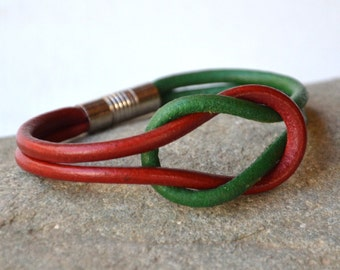MEN LEATHER BRACELET  - Personalized Mens Bracelet - Cord Leather Bracelet - Mens Jewelry - Leather wristband -Mens Bracelet Gift Green, Red