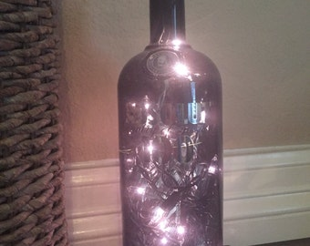 Absolute 100, Absolute Bottle Light, Alcohol Bottle Light, Absolute 100 Bottle Light, Home Decor, Upcycled, Recycled, Bar Light, Man Cave.
