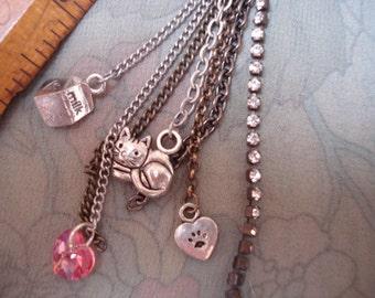 Cat Lover Heart Purse Zipper Pull Pendant Rhinestone Charm Jewelry