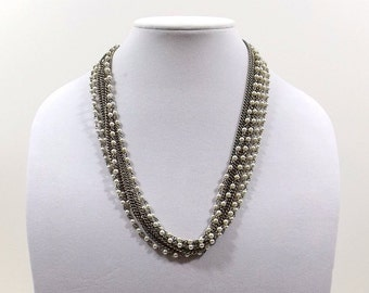 Multistrand Faux Pearl and Chain Necklace