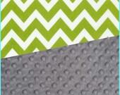 Baby Blanket Cotton Lime Chevron Minky backing 19 colors Carseat Blanket Crib Blanket Minky Blanket