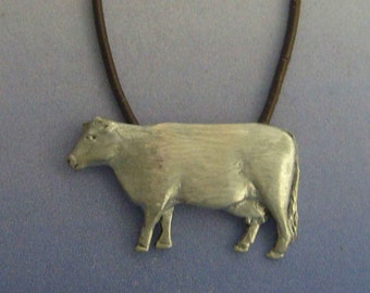 cow pendant amulet 925 sterling silver necklace charm