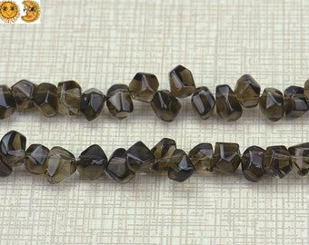 15 inch strand of Smoky Quartz faceted nugget beads,top drilled beads, size for choose