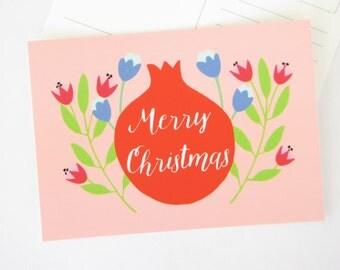 Merry Christmas postcard, Blank Holiday Note card, floral folk art, pomegranate, fruit illustration, flowers, season's greetings
