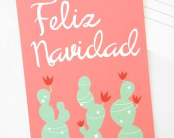 Feliz Navidad Christmas Postcard, Blank Holiday Note card, Spanish card, coral pink, southwestern, festive cactus illustration