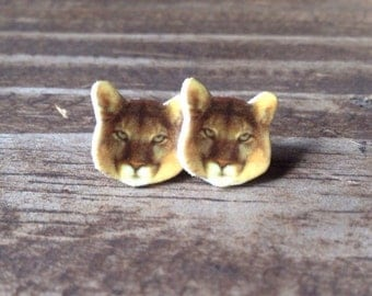 Mountain lion earrings puma cougar jewelry big cat